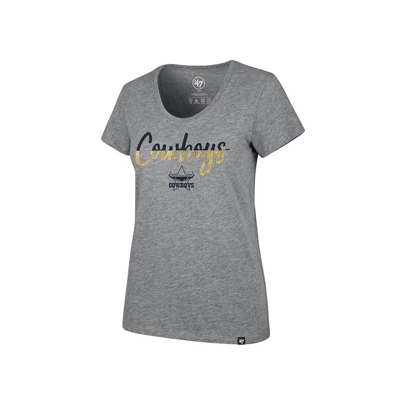 Ladies Grey Sparkle Dip Club Scoop Tee0